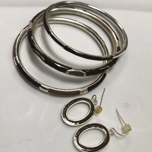 Jewelry - Brown/silver 3 piece bangle set with earrings